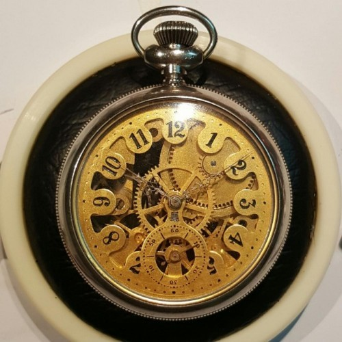 New England Watch Co. Grade Skeleton Pocket Watch Image