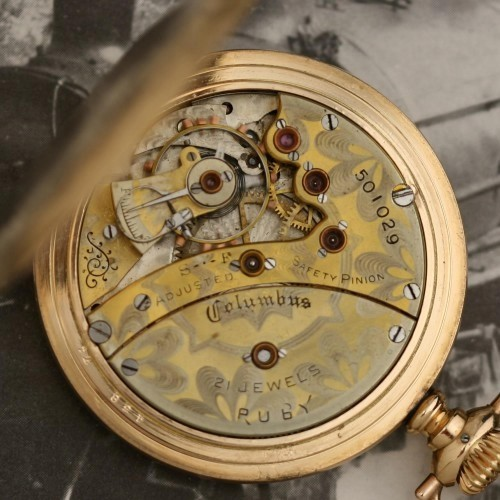 Columbus Watch Co. Grade Ruby Pocket Watch Image