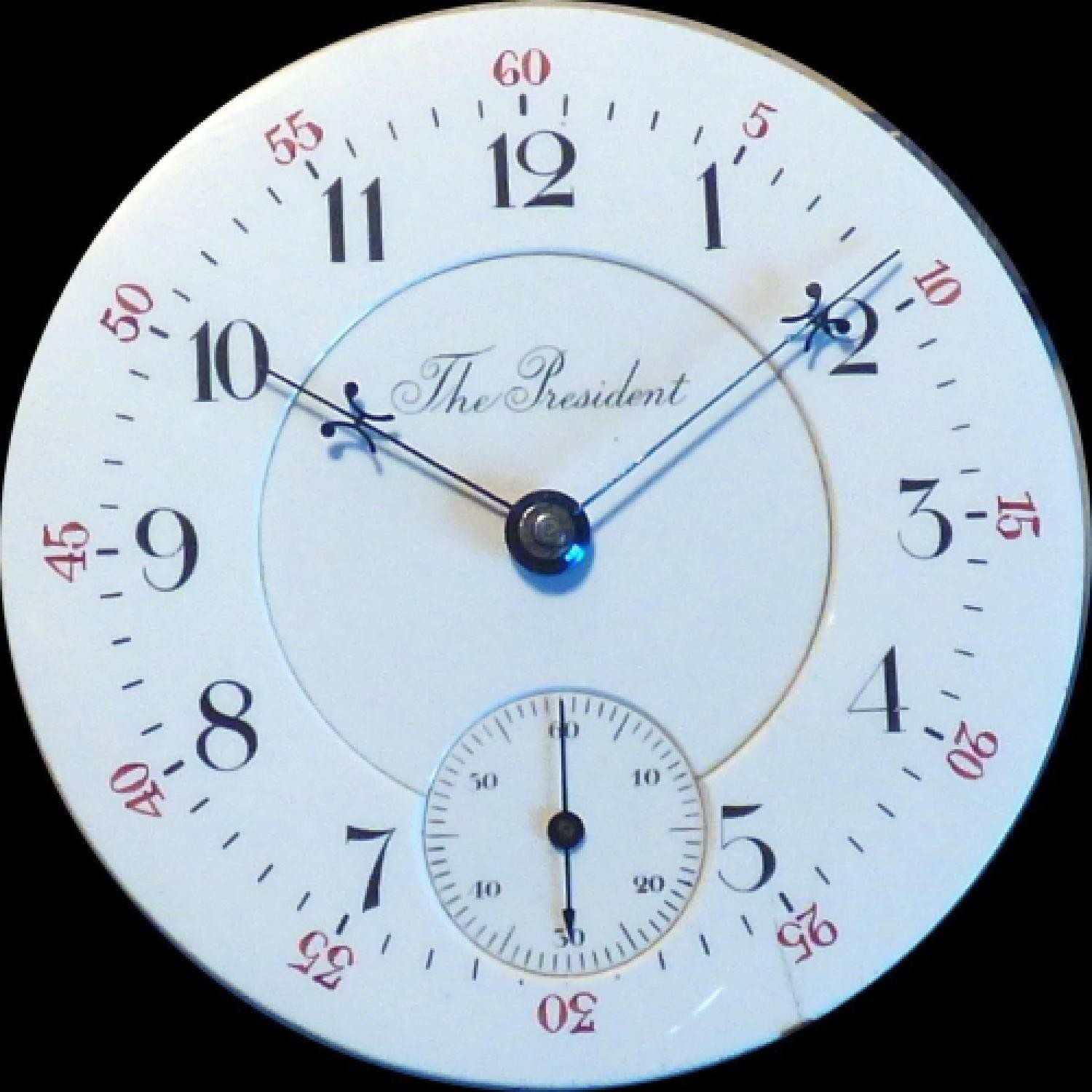 Image of U.S. Watch Co. (Waltham, Mass) The President #150028 Dial
