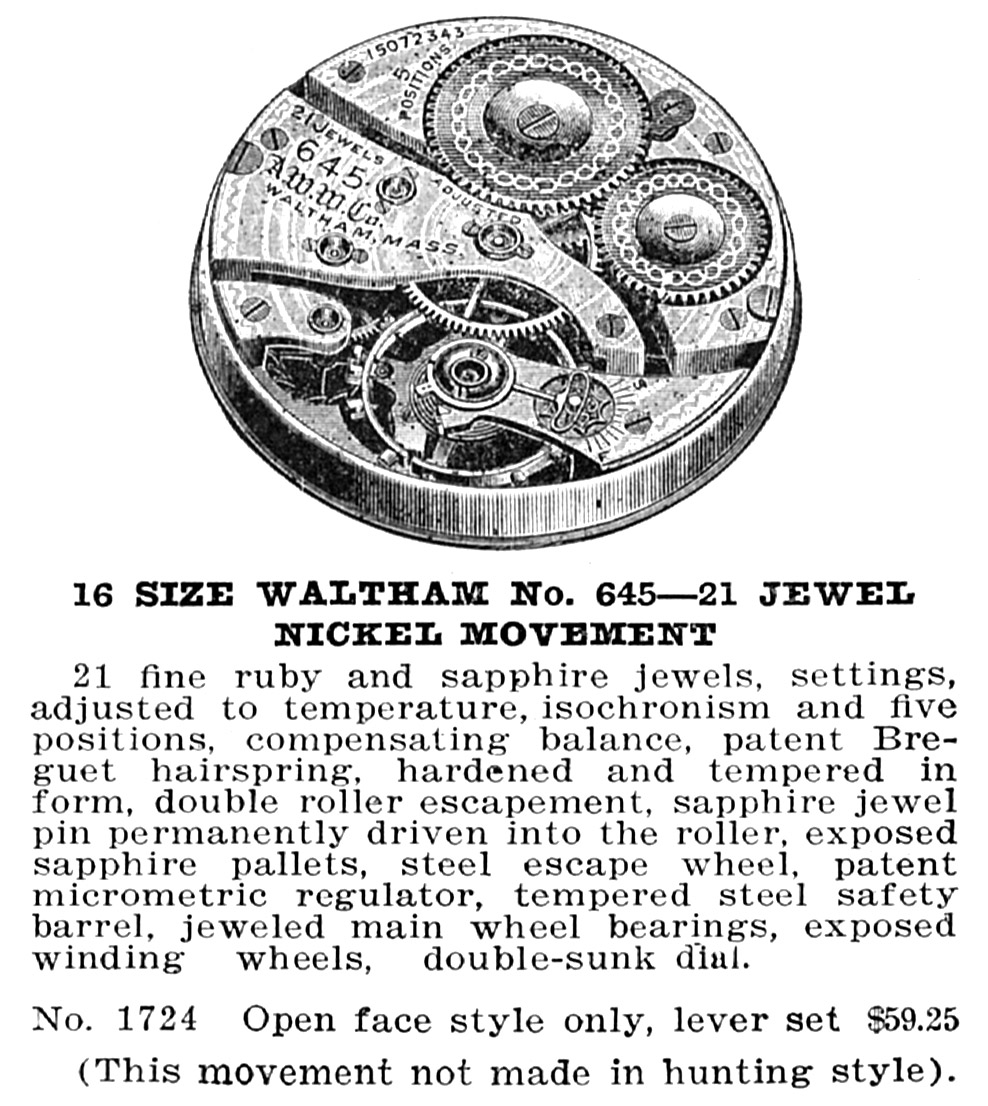 Waltham Grade No. 645 Advertisement from 1915