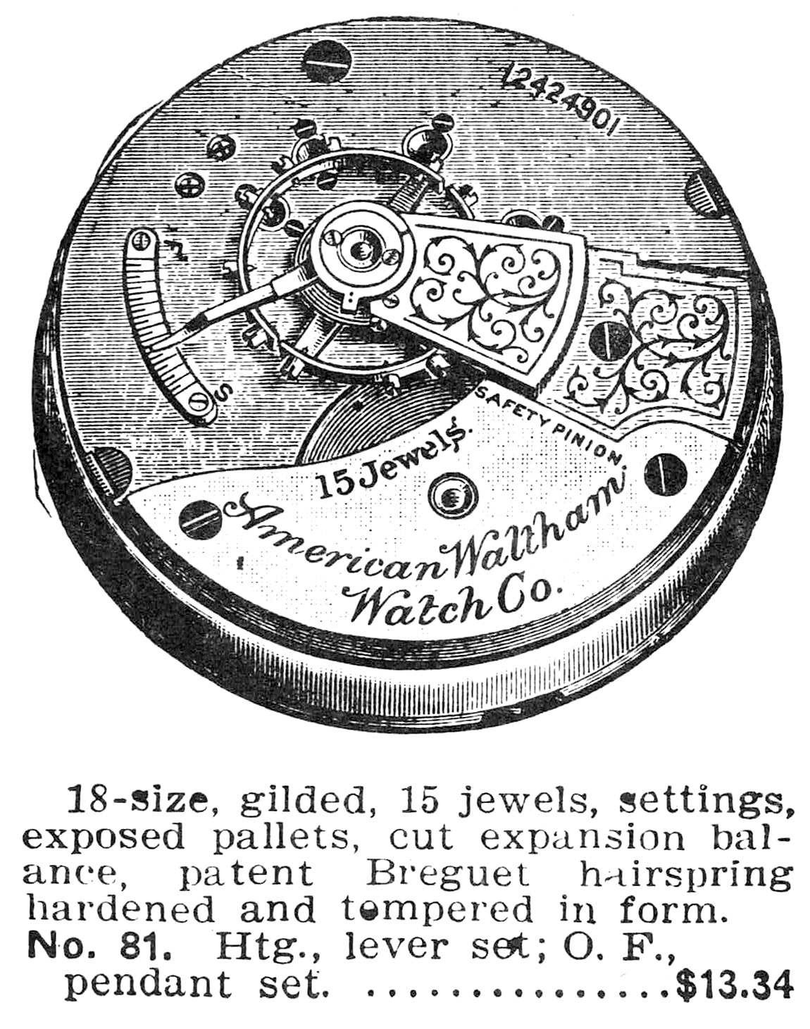 Waltham Grade No. 81 Advertisement from 1910