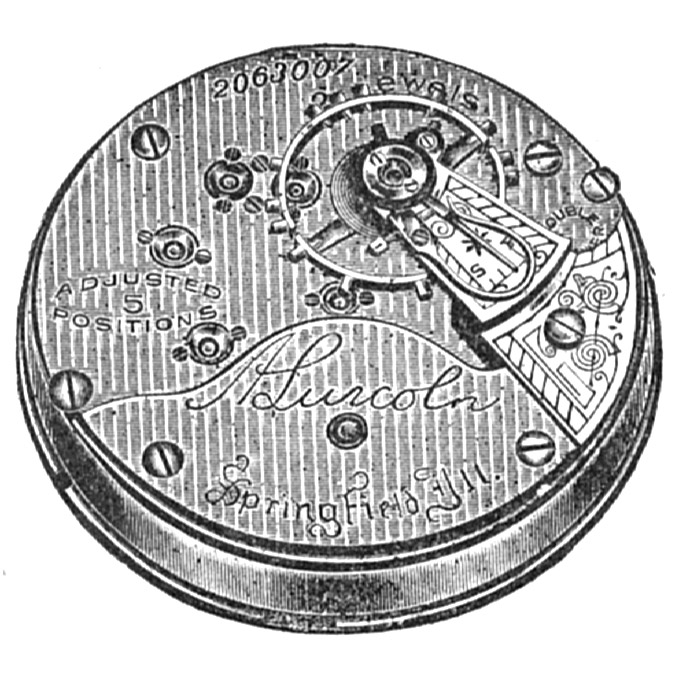 Illinois Grade A. Lincoln Pocket Watch Movement