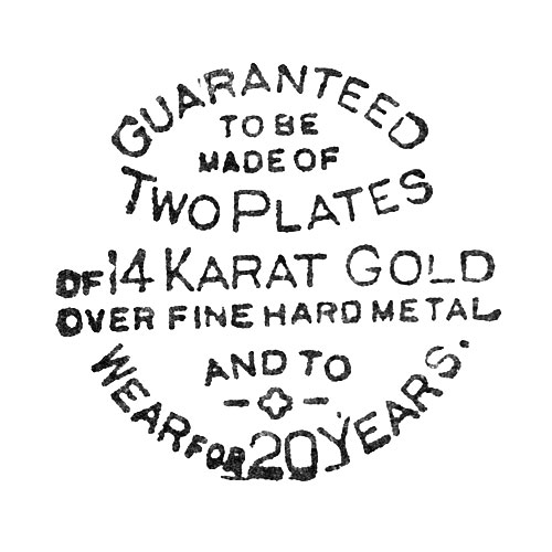 Guranteed To Be Made Of Two Plates Of 14 Karat Gold Over Fine Hard Metal And To Wear For 20 Years (Dueber Watch Case Mfg. Co.)