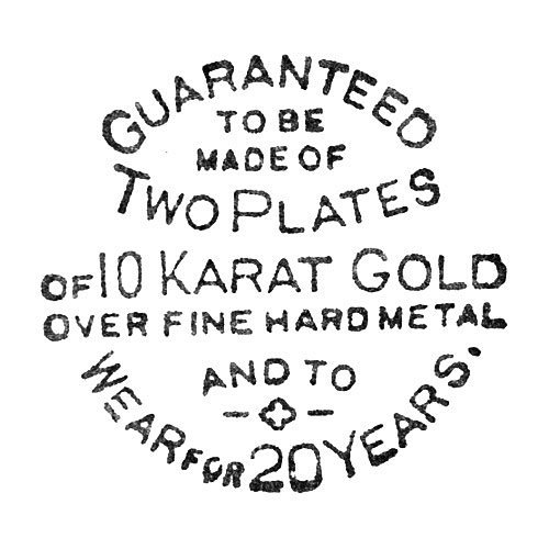 Guranteed To Be Made Of Two Plates Of 10 Karat Gold Over Fine Hard Metal And To Wear For 20 Years (Dueber Watch Case Mfg. Co.)