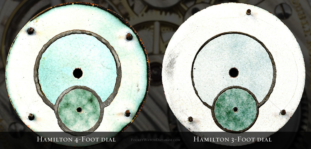 Hamilton Pocket Watch 16s 4 Foot vs 3 Foot Dial Feet Back of Dial