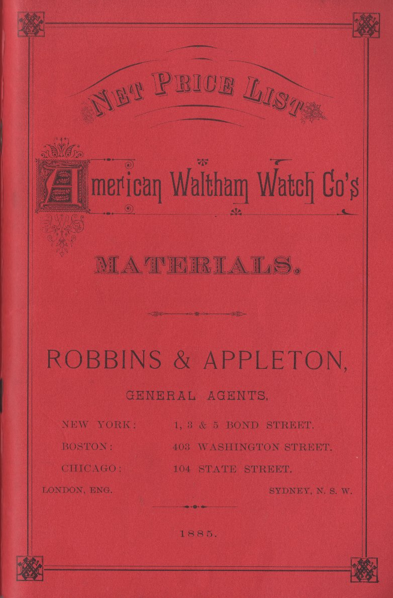 1885 Net Price List American Waltham Watch Co's Materials Cover Image