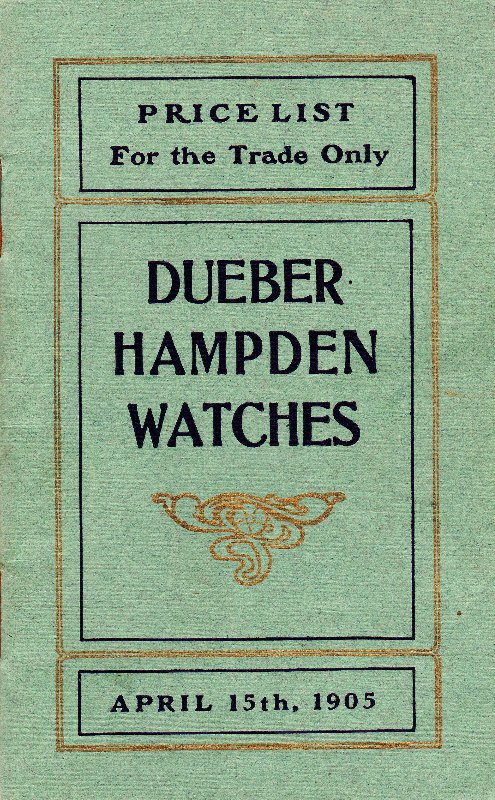 Dueber Hampden Watches Price List: April 1905 Cover Image