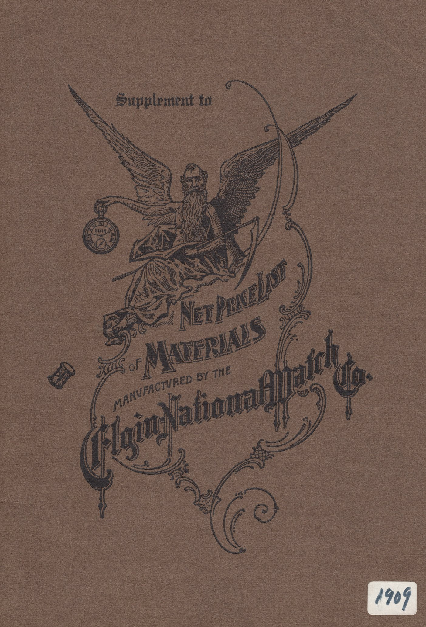 Supplement to Net Price List of Materials Manufactured by the Elgin National Watch Co. (1909) Cover Image