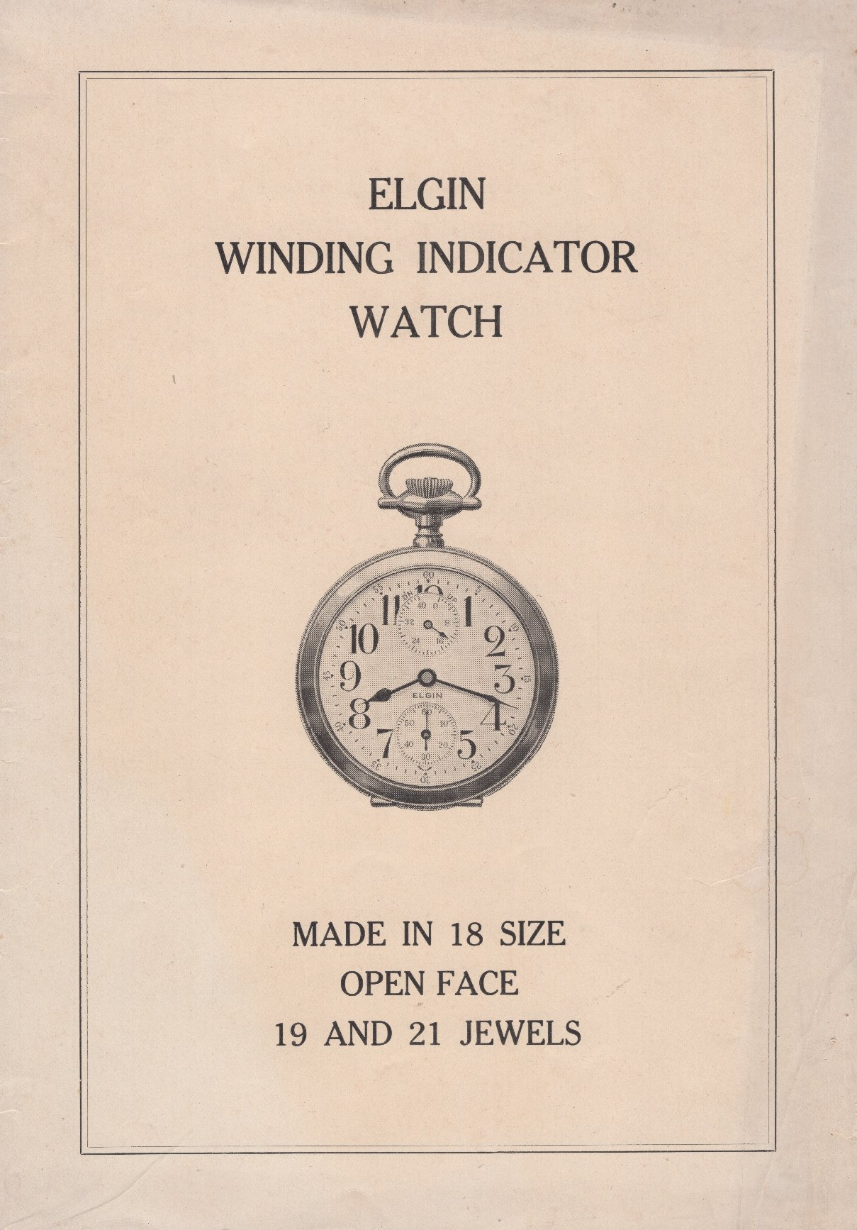 Elgin Winding Indicator Watch Pamphlet Cover Image