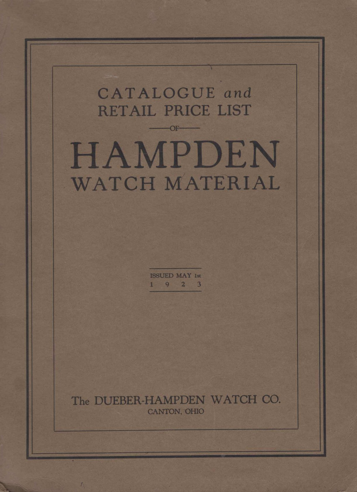 1923 Hampden Watch Company Material Catalog Cover Image