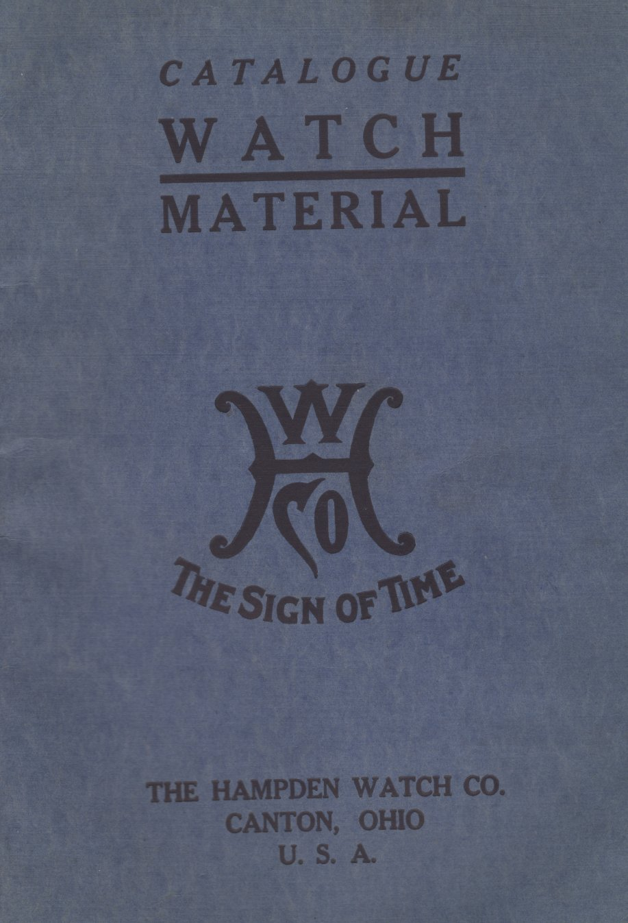 c.1915 Hampden Watch Company Material Catalog Cover Image