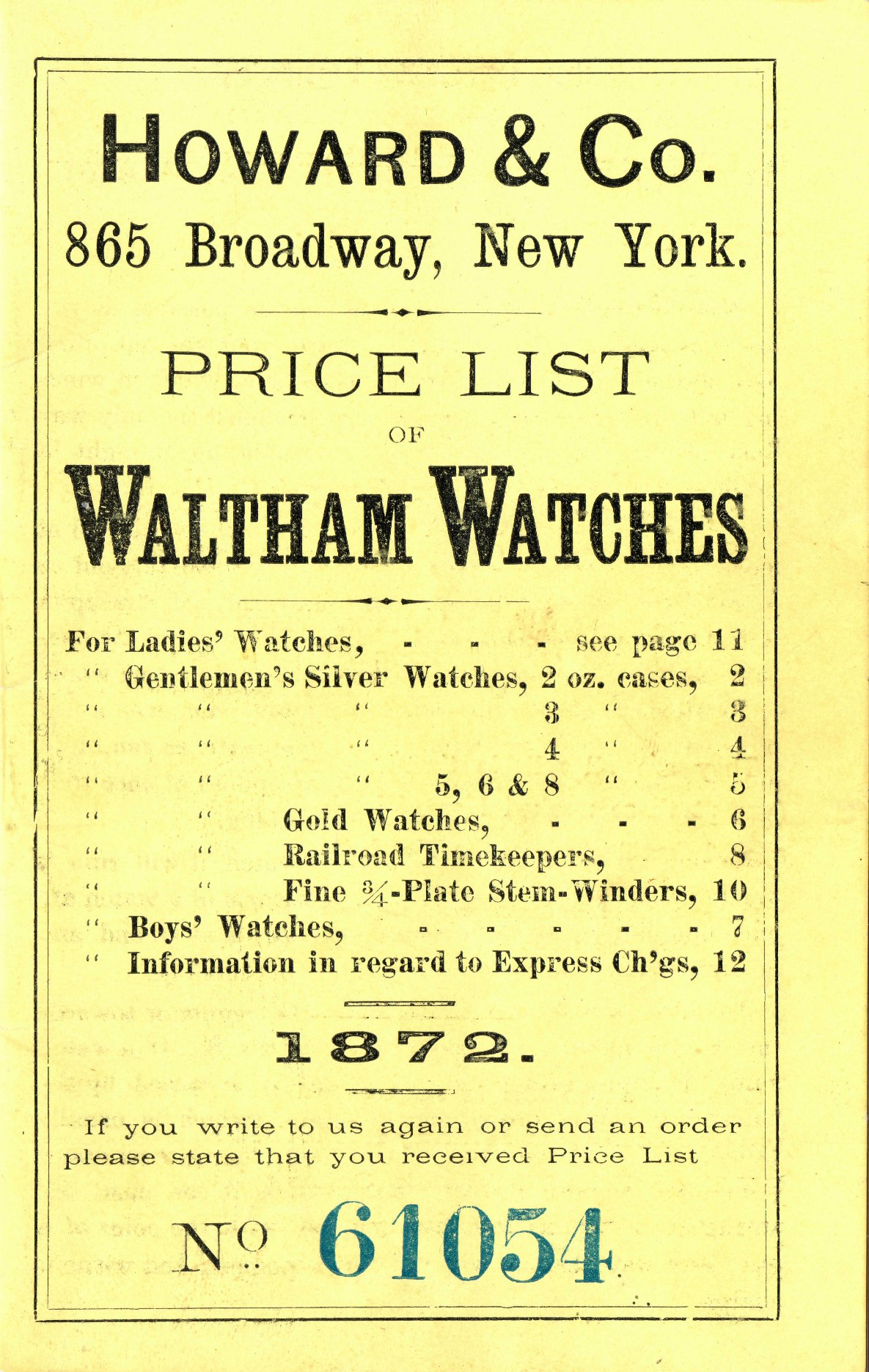 Howard & Co. Price List of Waltham Watches, 1872 Cover Image