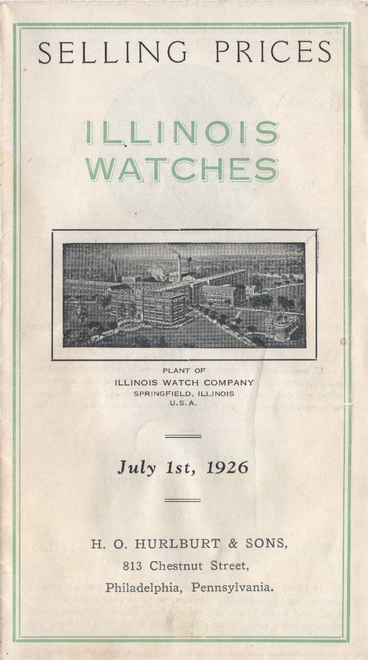 Selling Prices: Illinois Watches: July 1st, 1926 Cover Image