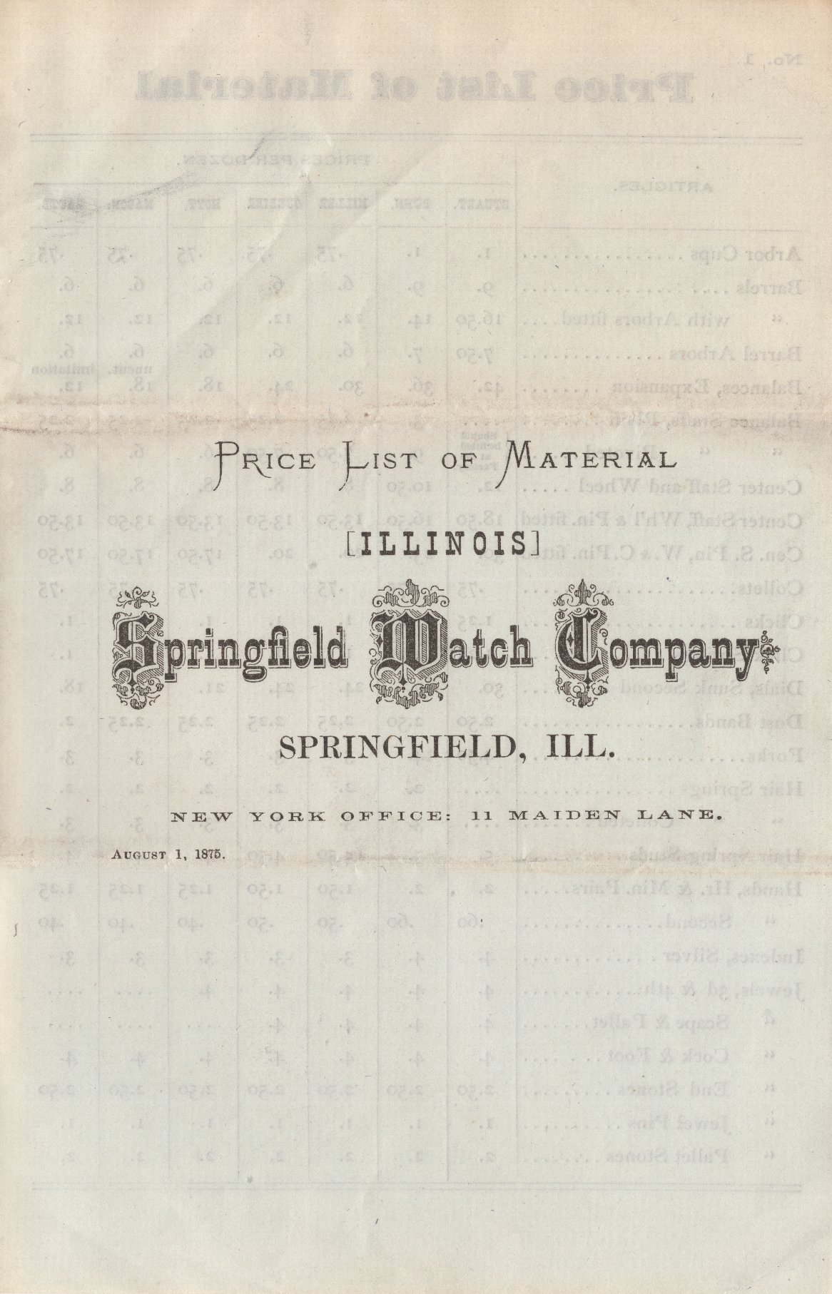 Price List of Material: Illinois Springfield Watch Company Cover Image
