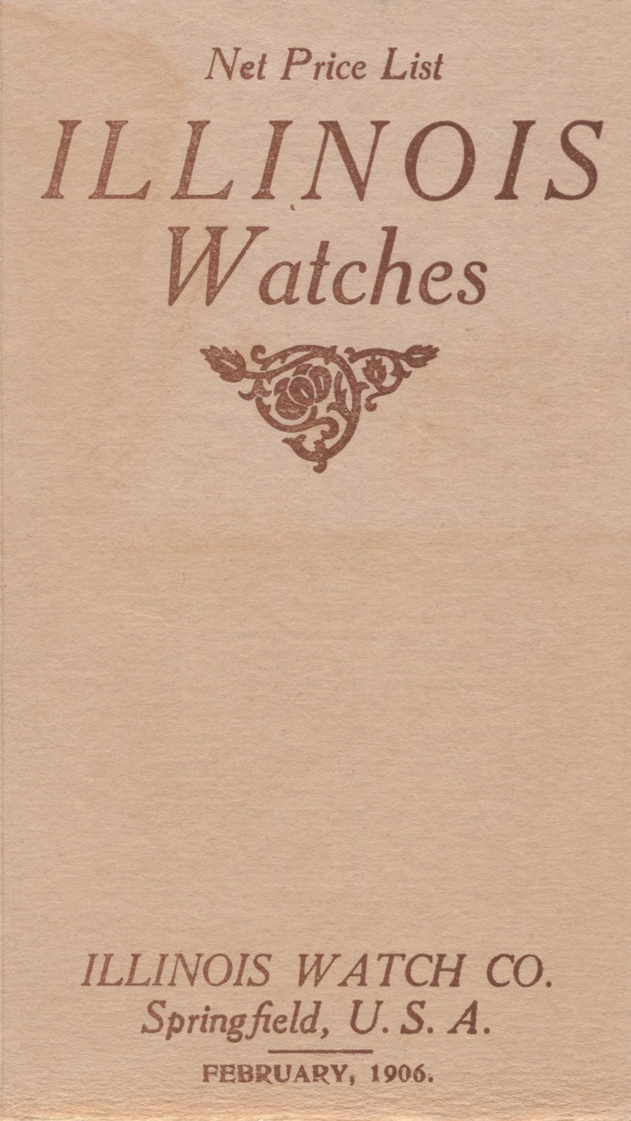 Net Price List Illinois Watches Catalog: February 1906 Cover Image