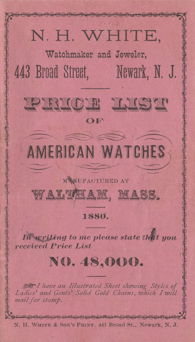N.H. White Price List of American Watches Manufactured at Waltham, Mass. 1880 Cover Image