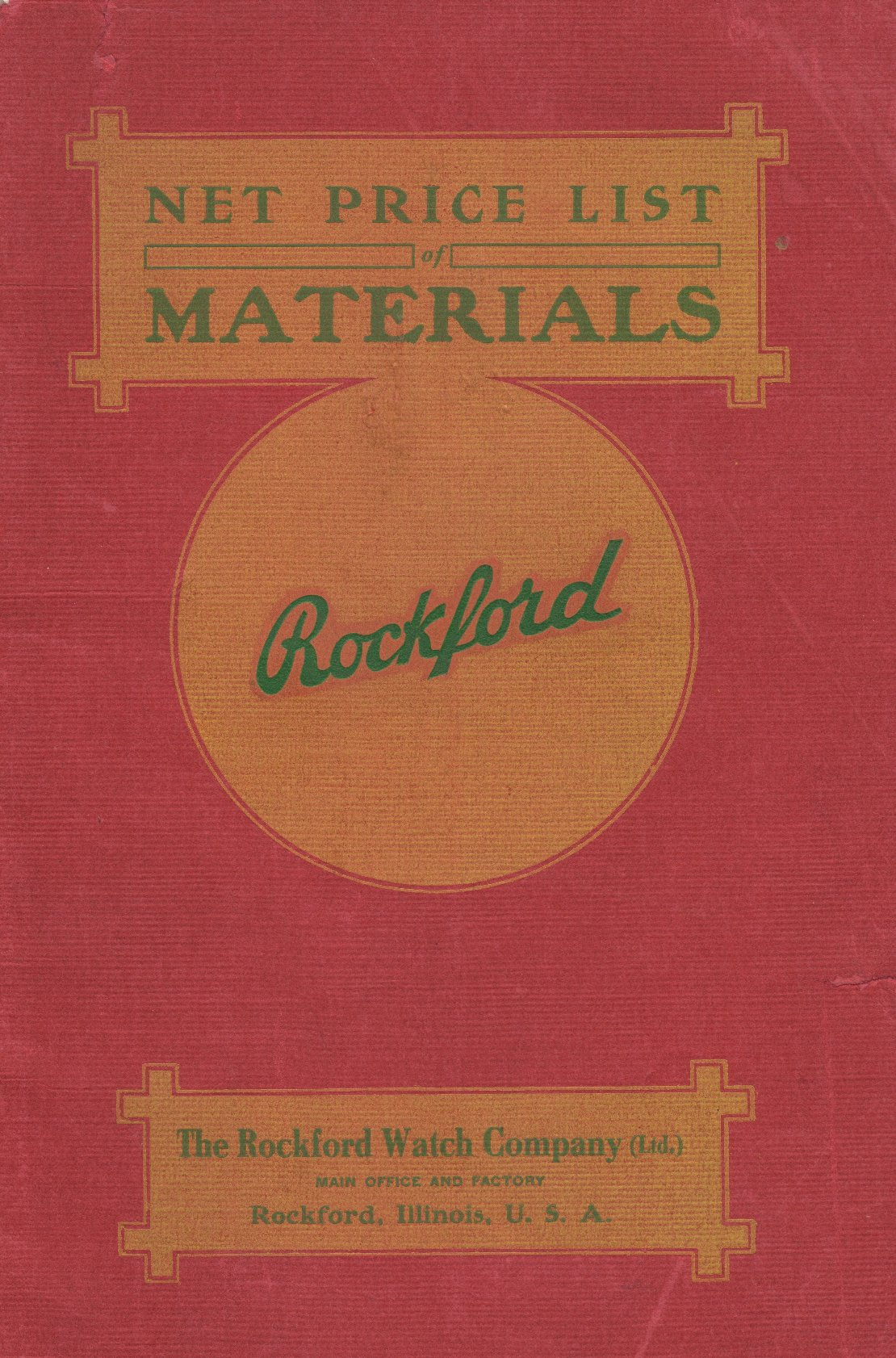 The Rockford Watch Company Net Price List of Materials (1907) Cover Image