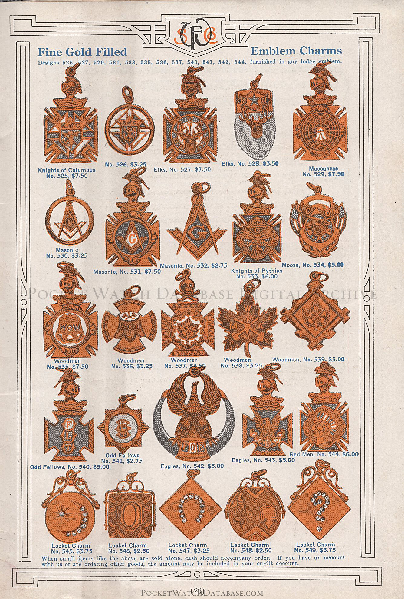 Solid Gold Waldemar Chains - Santa Fe Watch Co  Catalog (c 1920