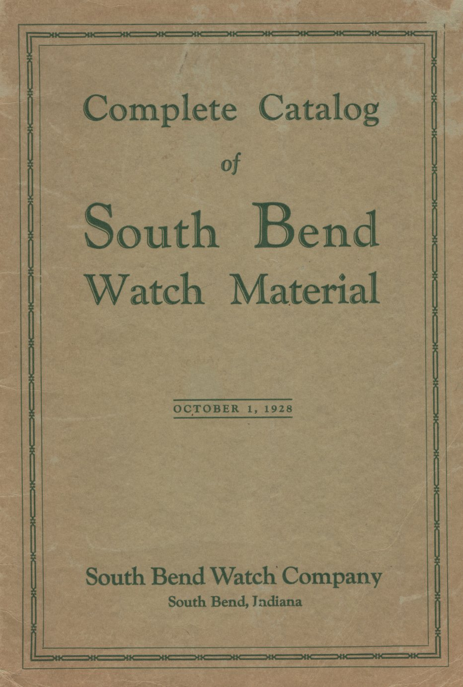 1928 South Bend Material Catalog Cover Image