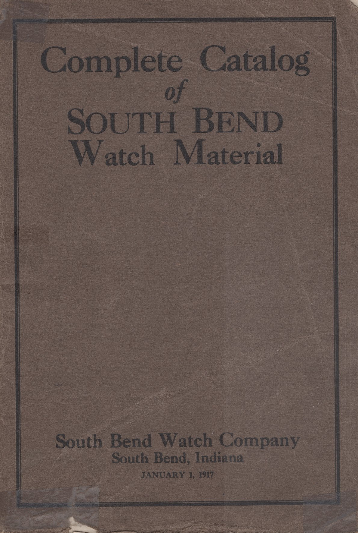 South Bend Watch Material Catalog (1917) Cover Image